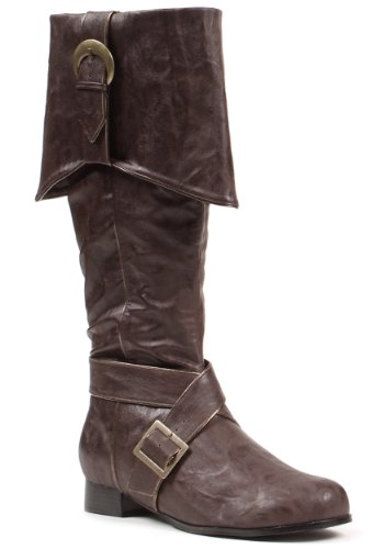 Mens Brown Buckle Pirate Boots Medium (Jack Le Kostüm Pirate)
