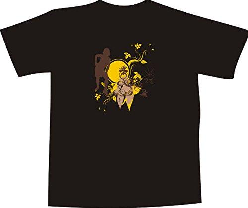 T-Shirt E479 Schönes T-Shirt mit farbigem Brustaufdruck - Logo / Grafik - abstraktes Design - Silhouette von Frau mit großem Punkt und vielen kleinen Ranken Weiß