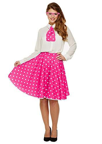 Kostüm 50's Zubehör Girl - shoperama 50's Rock 'n' Roll Polka Dot Tellerrock und Krawatte Pink/Weiß Rockabilly 50er Jahre Vintage Retro Pin Up Girl