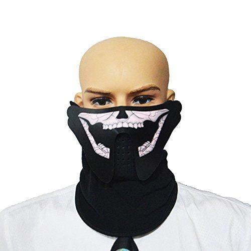 (SUNREEK Sound Aktivieren LED Party Kostüm, Unisex Blinkende EL Panel Musiksteuerung LED Party Kostüm Maske Für Nacht Reiten, Musik Festival Oder Halloween Party (Schädel))