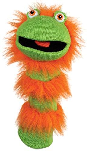 Lashuma Strumpf Theaterpuppe Ginger, Armpuppe 40 cm, Strickpuppe für Kasperletheater, Socken Handpuppe Grün Orange