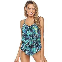 Abollria Traje de Baño en Dos Piezas Sexy Mujer Tankini Vest + Short de Baño Traje para el Mar, Playa, Piscina, Fiesta, Vacaciones