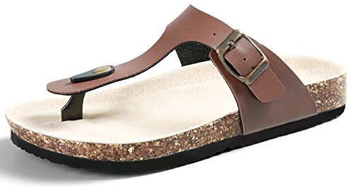 SANDALUP Pantoletten Damen Zehentrenner Sandalen Sommer Schuhe Braun 39