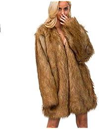 Chaqueta Piel Mujer Largos Cardigan Otoño Invierno Espesor Chaqueta De Piel  Termica Sintético Piel Elegante Moda 0117bb2a56e3
