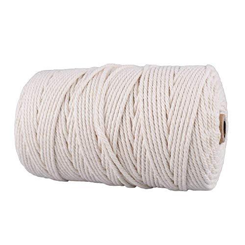 Gudotra 200M Hilo Macramé Cordón de Algodón Cuerda Cañamo Rollo para Hecho a Mano DIY Craft Carrete para Tejer Decoración