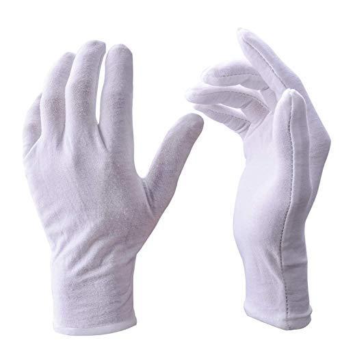 UClever 12 Paar weiß Baumwolle Handschuhe für die Haut Schutz, Große Größe