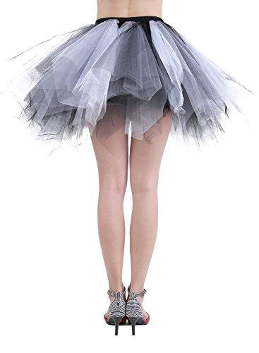 Dressystar Petticoats Minirock Kurz Unterrock Tutu Unregelmäßig Tüll Damen Mädchen Ballettrock Multi-Schichten Schwarz Weiß