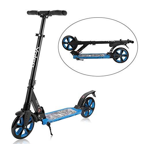 Yoleo Big Wheel Scooter CityRoller - mit Doppel Federung - klappbar und Höhenverstellbar, Kickscooter Tretroller für Erwachsene und Kinder