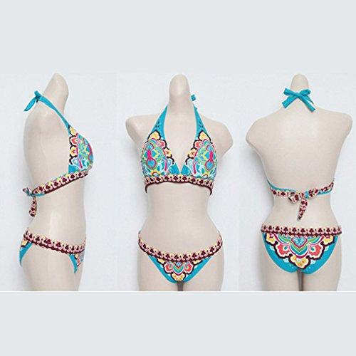 LUFA Bikini sexy sexy del costume da bagno del costume da bagno del costume da bagno del costume da bagno di seta nazionale delle donne di stile nazionale blu