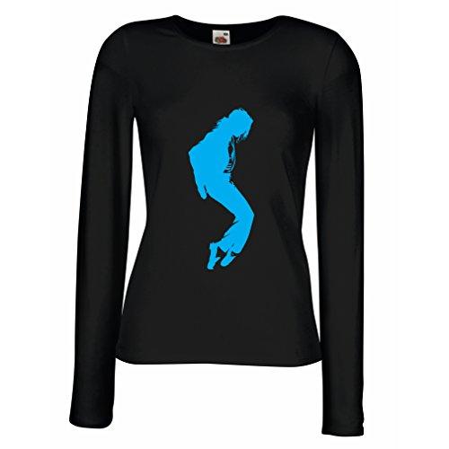 Weibliche langen Ärmeln T-Shirt Ich liebe MJ - Fanclub Kleidung, Konzert Kleidung (Small Schwarz Blau)
