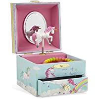 JewelKeeper Square Jewellery Music Box for Girls with Pull-out Drawer - Multiple Design and Tune Options Available