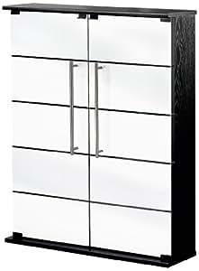 VCM Dimaro Meuble vitrine rangement pour DVD/CD K7 Video 12 étagères amovibles