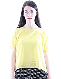 Seventy Yellow Cotton Twin Set with T-Shirt+Top, Mujer.