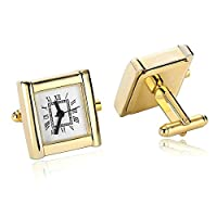 Aooaz Cufflinks for Men Stainless Steel Rectangle Numeral Dial Watch Shirt Cufflinks White Gold