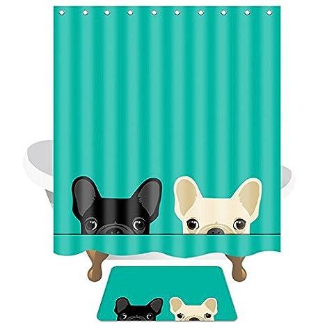 Série de salle de bain Rideau de douche Imperméable à l'humidité Polyester Matériau Vert Rose , A