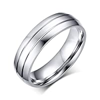 Lekima Stainless Steel Ring Double Line Groove Simple Polished Couple Lover Promise Engagement Wedding Band Charm Jewellery Gift For Men - Silver #Y (Gift Bag Included)