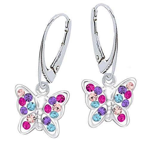 Kristall Schmetterling Klapp-Brisur Ohrringe 925 Echt Silber Mädchen Kinder Ohrstecker Ohrhänger (6) Mehrfarbig)