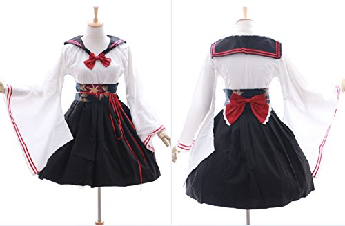 JL-577 Kimono Sailor schwarz weiß Lolita Kleid Kostüm dress Cosplay Japan (Gr....