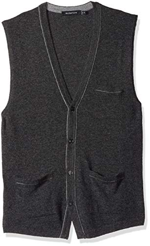 Lightweight V-neck Sweatshirt (Bugatchi Herren Lightweight V-Neck Sweater Vest Pulloverweste, Graphit, Mittel)