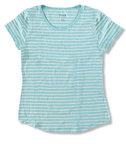 Womens Scoop Neck Knit (Hanes Fusionsoft Women's Scoop Neck Striped Tee with Shirttail Hem, Pale Aqua (Small))