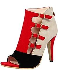 COOLCEPT Mujer Western Moda Peep Toe Tacon Alto Hueco Cordones Sandalias (33 EU, Blue)