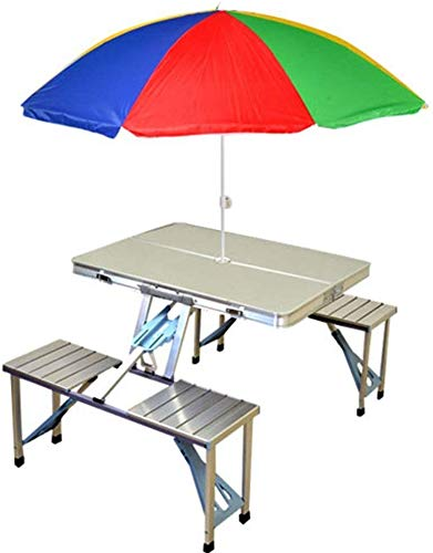 Prem® (Label) Gadgebucket Aluminium Portable Folding Picnic Table & Chairs Set with Umbrella (Set of 1)