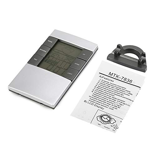 Feketeuki Tragbares digitales Temperatur- und Luftfeuchtigkeitsmessgerät LCD Wetterstation Uhr Indoor Outdoor Thermometer Hygrometer