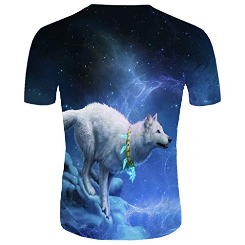Realde Herren Oder Rundhals Kurzarm T-Shirt Oversize Farbe Loose 3D Tierdruck Oberteil Herbst und Winter Passt super auch zur Jeans Männer BequemTops Größe S-XXL