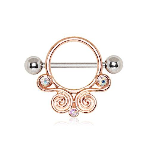 L'oro AB cristallo rinascimentale circolare Rosa ha placcato d'acciaio chirurgico dell'ugello della barra (Shield) 1,6 millimetri x 16 millimetri