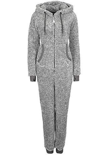 Eight2Nine Damen Jumpsuit aus kuscheligem Teddy Fleece | Overall | Ganzkörperanzug mit Ohren Dark-Grey L/XL - 2