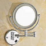 YUH Vanity Mirror 3 Mal Vergrößerungsspiegel 360 Grad Spiegel Spiegel Haushalt Silber Bad Spiegel an der Wand gehangene Mode Kosmetik Spiegel LED Leuchten Badezimmer Spiegel rund,D 8 Zoll