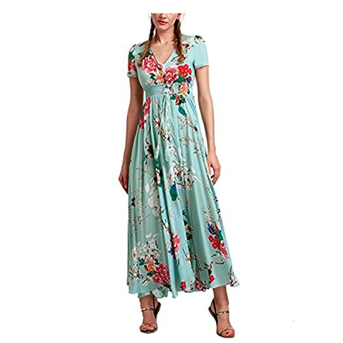 Damen Kleider Frauen Sommerkleider Vintage Boho Maxikleid Ärmelloses Beiläufiges Strandkleid Blumenkleid Abendkleid Floralen Druck Minikleid Partykleid Cocktailkleid Von LSAltd (Asiatische Größe:XL, Grün)