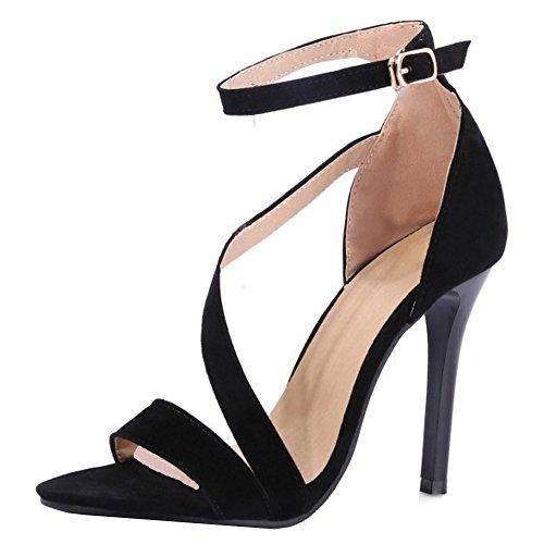 TAOFFEN Damen Mode Open Toe Knochelriemchen Sandalen Elegant Solid Hohe Ferse Stiletto Schuhe Schwarz
