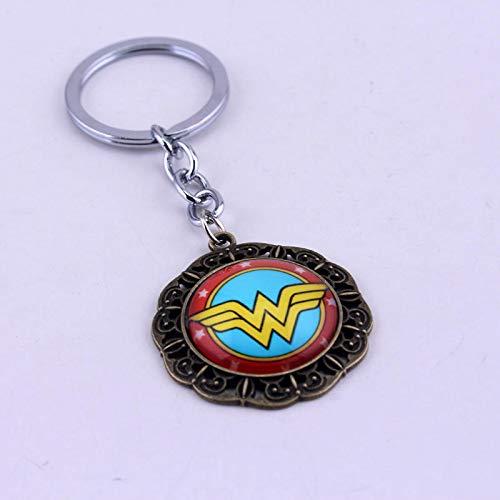 TUDUDU Mqchun Wonder Woman Glas Cabochon Schlüsselanhänger Metalllegierung Schlüsselanhänger Ringe Schlüsselanhänger Chaveiro Souvenir Geschenk Für Männer Frauen
