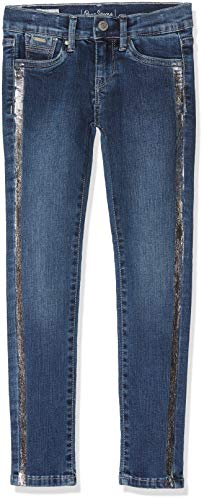 Pepe Jeans Mädchen Skinny Jeans Pixlette Sparkle, Blau (Denim 10Oz Festive Silver Banner 000), 6 Jahre (Herstellergröße: 116)