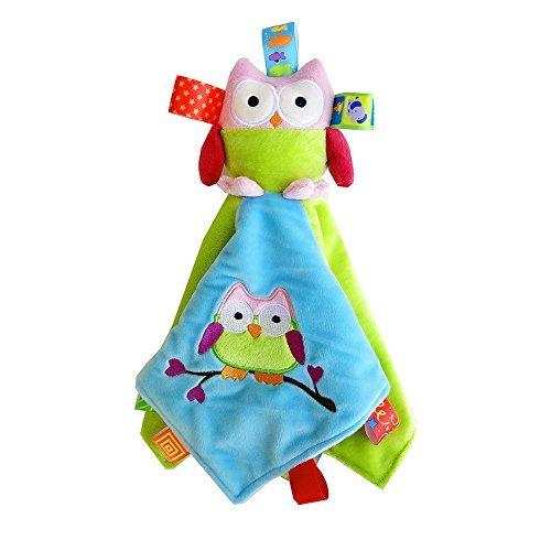 INCHANT Baby-Jungen-Mädchen-bunte Eulen-Sicherheitsdecke Stoff Tröster Hilfe Schlaf-Spielzeug für Babys