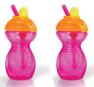 Munchkin-Confezione da 2tazze cannuccia rosa 10oz 12m (10 Ounce Bambino Bottiglie)