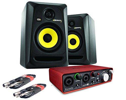 KRK RP5 ROKIT G3 Studiomonitor + Audiokarte Focusrite 2i2 + Kabel Rca Combo Kabel