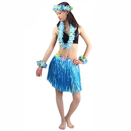 Hawaii Rock Bastrock HULA Damen Frauen Erwachsene Set Bunt Kostüm (Armband Stirnband Blumenkette Büstenhalter)Grass Tanzen Lang Blumen Deko Stirnband Girlande Luau Farbig Strandurlaub Beach Party