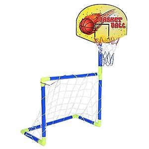 Alomejor 2 en 1 Juego de Juguete de fútbol de Baloncesto para niños Juegos de portería de Deportes de Baloncesto y fútbol para niños pequeños