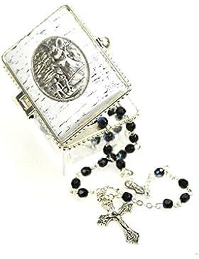 Zur ersten heiligen Kommunion, zur Taufe, zur Andacht wunderschöner Rosenkranz aus dunkelblauen Kristallperlen...