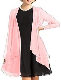 Find Dress Boléro Femme Mariage à Manche Longue Femme Veste Elégante Gilet Femme Grande Taille Cardigan Ouvert Fille châle pour soirée cocktail en Mousseline de soie