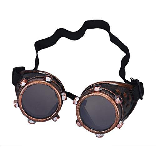 Zolimx Steampunk Goggles Vintage Style Schweißpunk Gläser (B)