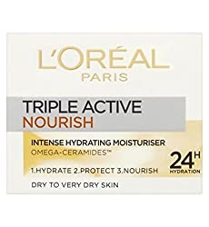 Loreal Paris Triple Active 24 Hydration Nourish Intense Hydrating Moisturizer For Dry To Very Dry Skin 50 ml With Free Ayur Sunscreen 50 ml