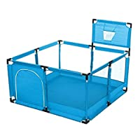 Baby Playpens - Bioby Baby Playpen Children Toddler Kids Safety Fence Indoor Outdoor Play Ocean Ball Pool Baby Playground Barrier with Basket (Blue with Basket)