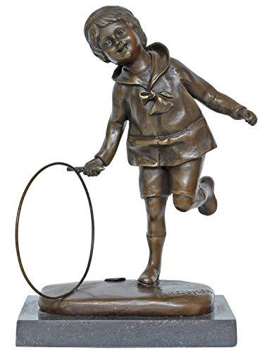 aubaho Bronzeskulptur Bronze Figur Junge Hoop Reifen nach Chiparus Antik-Stil Replik (Reifen Replik)