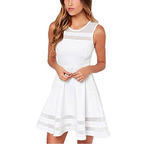 Minetom Damen Sommerkleid ärmellos Dacron Minikleider Abend Kleid,Party Abendkleid,Cocktailkleid ( EU XL (Schlumpfine Kostüm Damen Für)
