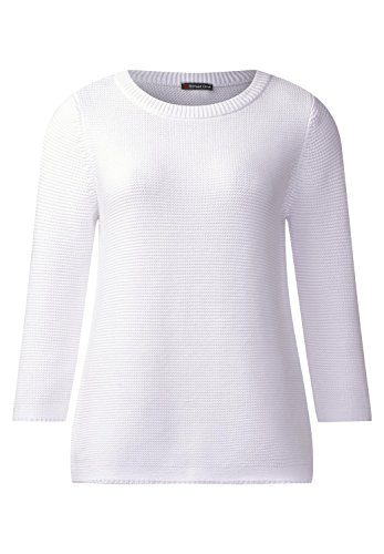 Street One - Pull - Uni - Manches 3/4 - Femme white (weiss)