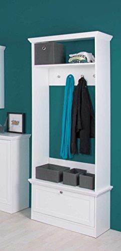Kompaktgarderobe in weiß mit 1 Klappe, 1 Einlegeboden, 1 Ablage und 4 Knöpfen, Metallknöpfe im Vintage-Look, Maße: BHT ca. 8020039 cm