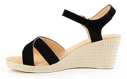 Aisun Damen Knöchelriemchen Suede Leder Keilabsatz Sandalen Pumps Weiß